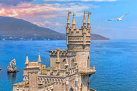 Swallow Nest castle on the rock in the Black sea, Crimea, Ukraine