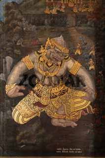 Golden giant in Wat Phra Kaew murals