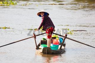 Vietnamese Woman on a Boat