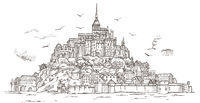 Le Mont Saint Michel ,Normandy, France. Hand drawn sketch illustration in vector