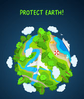 Earth protect concept, planet globe with trees, rivers and clouds