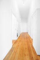 new flat corridor, empty hallway woith wooden floor