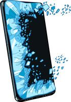 smartphone screen explodes. Defective damaged equipment. Template