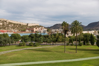 Park and green area in city of Cartagena in region Murcia in Spain
