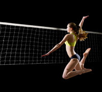 Young woman beach volleyball player (with net version)