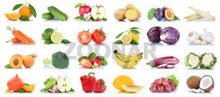 Obst und Gemüse Früchte viele Apfel Tomaten Orangen Knoblauch Weintrauben Farben Freisteller freigestellt isoliert