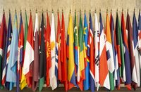 World flags om poles