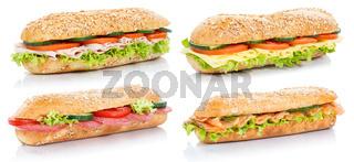 Sammlung Baguette Brötchen belegt mit Schinken Salami Käse Lachs Fisch Sandwich frisch freigestellt Freisteller