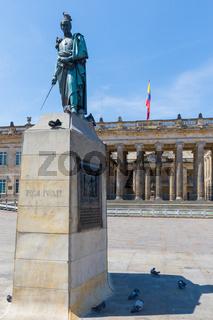 Bogota statue of Simon Bolivar on a sunny day