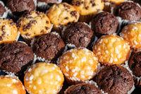 many mini muffins on dessert buffet - muffin closeup -
