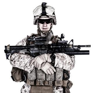 US marine studio shot on white background