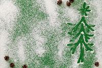 Christmas Tree On Snow Flour Background