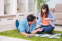 The young family in budget planning concept