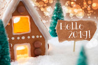 Gingerbread House, Bronze Bokeh Background, Text Hello 2019