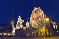 central square in Riga and House of Blackheads in the old town at night in Riga