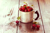 Cherry in a aluminum cup