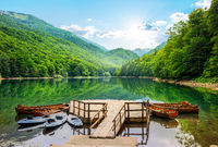 Boats on Biogradska Lake