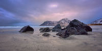 Skagsanden beach on sunset, Lofoten islands, Norway