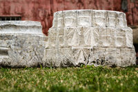 Ancient Carved Colomn Stone Pedestals in a Museum Backyard