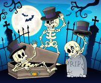 Skeletons near cemetery gate