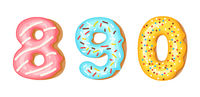 Donut icing numbers digits - 8, 9, 0. Font of donuts. Bakery sweet alphabet. Donut alphabet latters A b C isolated on white background