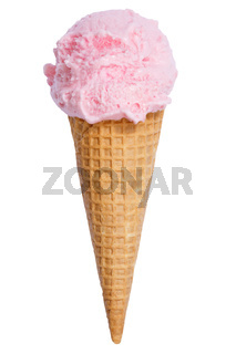 Erdbeereis Erdbeer Eis in der Waffel Kugel Erdbeeren Erdbeere Sommer isoliert Freisteller freigestellt