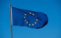 Flag of European Union with blue sky