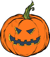 Halloween pumpkin. Scary face. Festive character