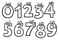 basic numbers cartoon set coloring book