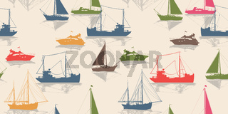 Sailing vector seamless pattern