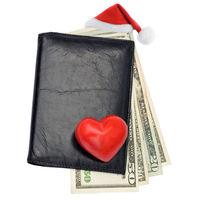 Santa Claus hat Dollars wallet