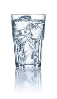 An isolated Glass with water and ice cubes