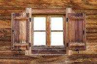 Old window at a hut