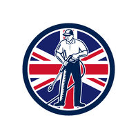 British Pressure Washing Union Jack Flag Circle Retro