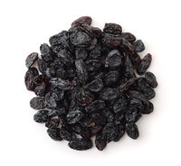 Top view of black raisins