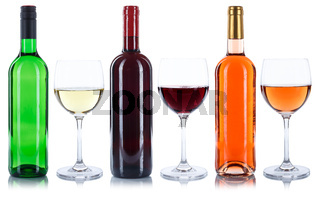 Wein Flaschen Weinflaschen Weingläser Gläser Weine Rotwein Rose Weißwein Alkohol freigestellt Freisteller