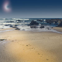 Portuguese beach in the light of the moon.