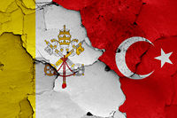 flags of Vatican and Turkey