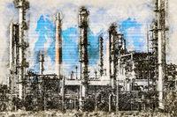 Digital artistic Sketch of an Oil Refinery
