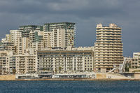Residential and commercial area at the coastline of Valletta in Malta