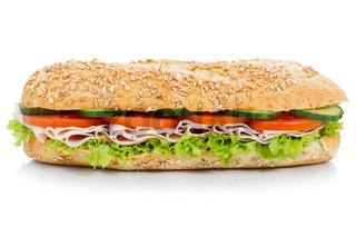 Baguette Brötchen Sandwich Vollkorn mit Schinken seitlich freigestellt Freisteller
