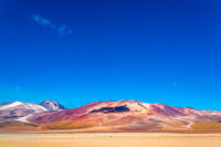Beautiful view of mountain and Salvador Dali Desert in Uyuni