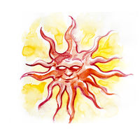 sun, tattoo drawing of a sun in orange colors with watercolor