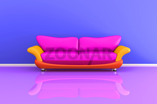 3d illustration of a colourful sofa in a colourful room.