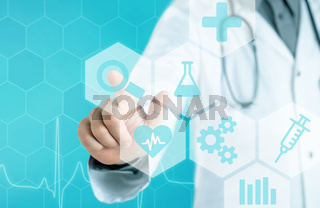Doctor touching an icon on a futuristic interface