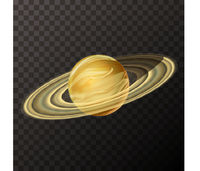 Realistic Saturn with texture, colorful planet on transparent background
