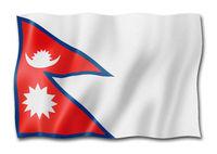 Nepalese flag isolated on white