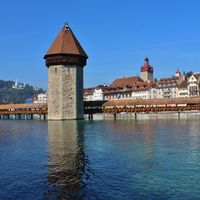 Famous Chapel Bridge in Lucerne, Switzerland.
