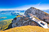 Pilatus Kulm mountain peak and Lucerne lake view