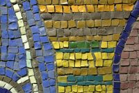Wall from tile mosaic